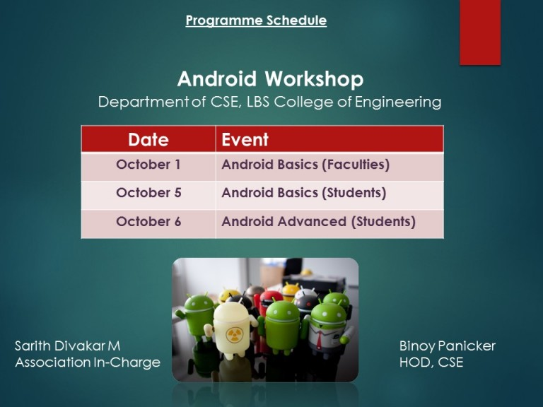 Android Workshop for Students and faculties